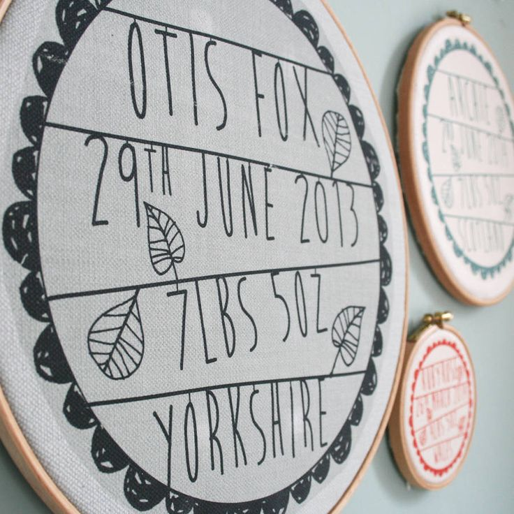 A sweet little personalised fabric print, baby birth details framed in a wooden embroidery hoop.Can be personalised to include a name, date, place and time of birth. The design is hand-pressed on to the fabric and then carefully framed in our Yorkshire studio. These prints are a sweet alternative to the traditional door plaque and they are great for styling a photo wall. They look lovely grouped on the wall in differing sizes, creating an informal and homely focal point to any room…