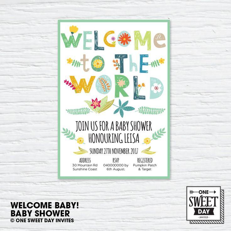 Printable Baby Shower Invitation, neutral gender, Bright Illustration, Invitation, DIY print by OneSweetDayInvites on Etsy