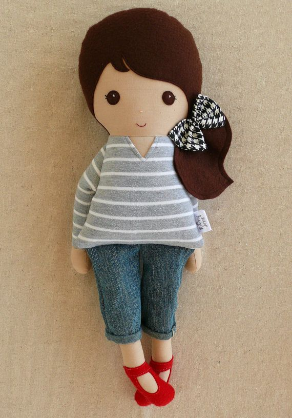 Fabric Rag Doll- houndstooth, stripes and red shoes... Adorable