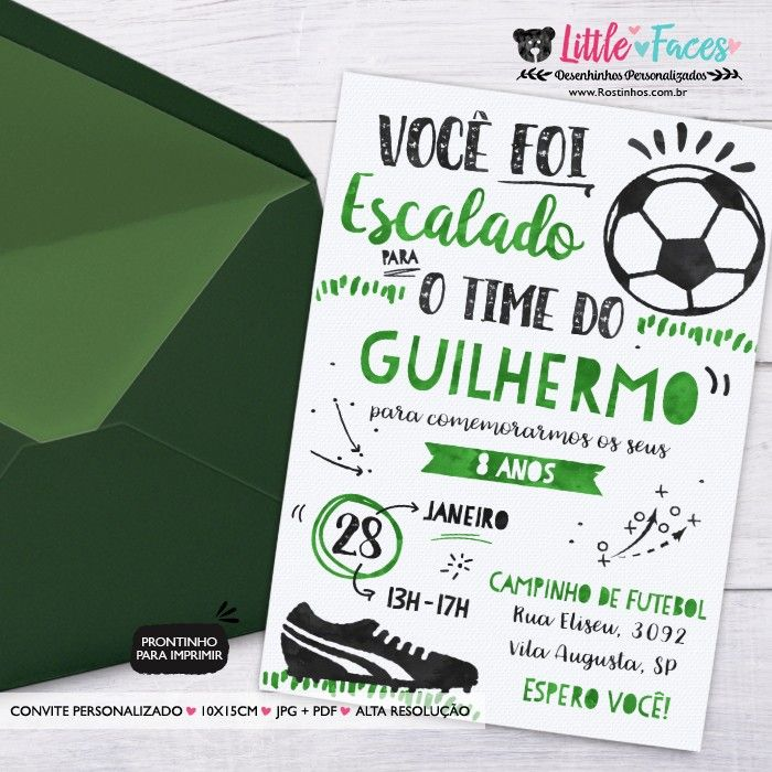 Convite Festa Futebol para imprimir