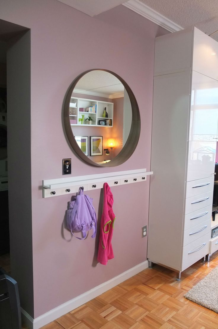 Need to save on space? Create your own DIY wall storage. Install hooks, like the HEMNES hanger, perfect for backpacks and jackets. Combine it with RIBBA wall shelf above it to display pictures and hold things you need on the go.