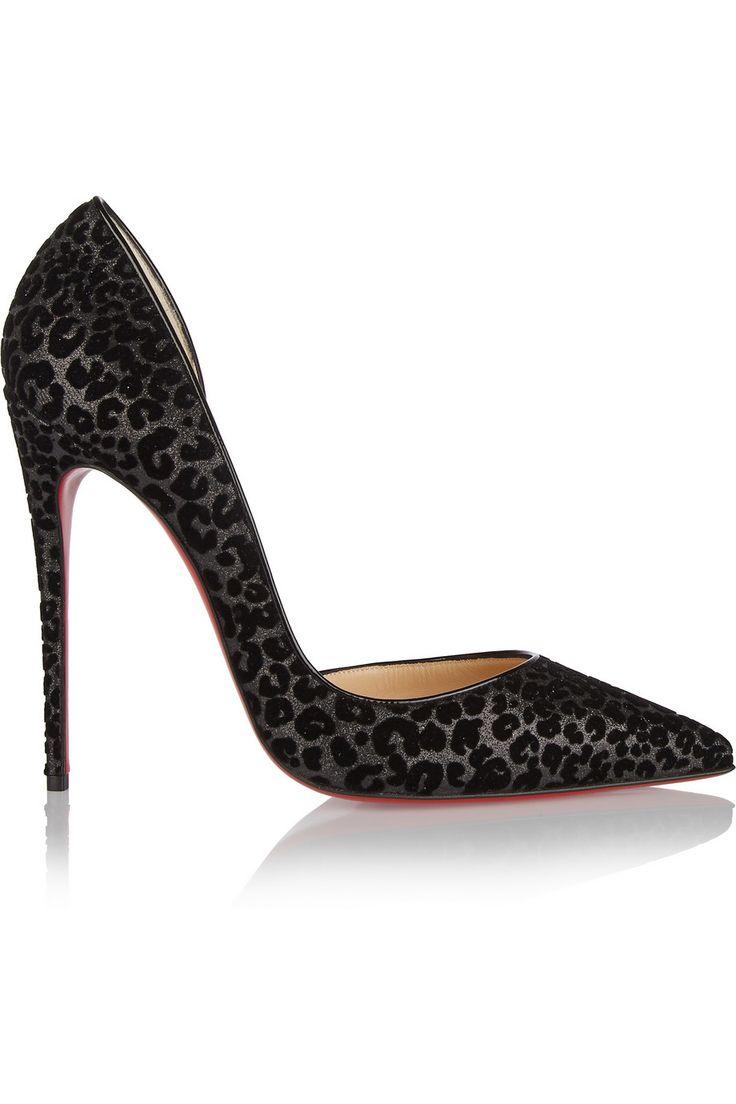 ♕ Christian Louboutin ♕  Stiletto en negro con estampado de leopardo.  ♥♥