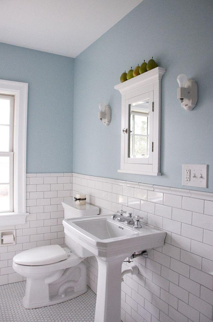Like; white metro tiles, half powder blue walls.