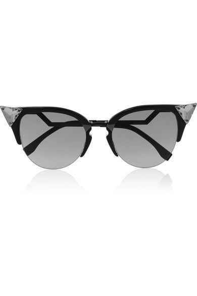 Fendi Crystal-embellished round-frame acetate sunglasses