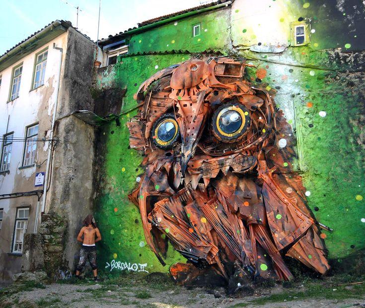 Street artist turns trash into incredible wild animal sculptures