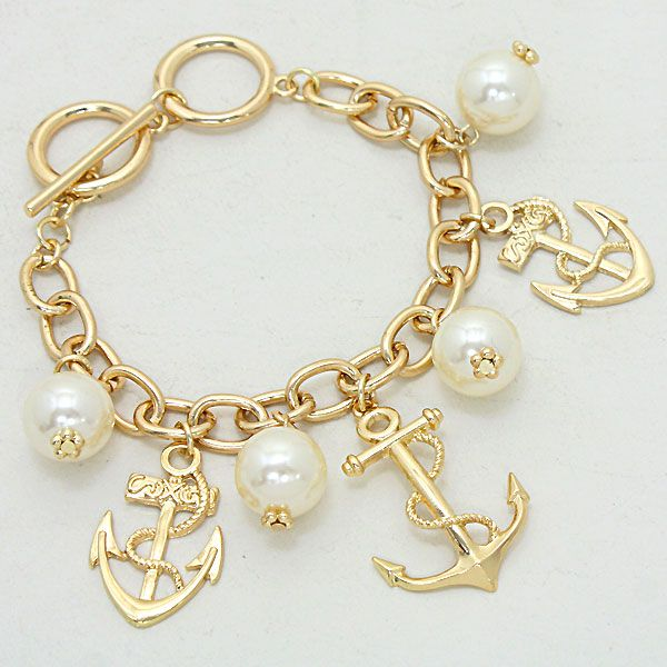 Gold Nautical Anchor Pearl Toggle Bracelet 225490