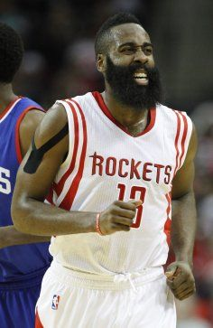 <center><b>Nov. 14: Rockets 88, 76ers 87</center></b> <h3></h3>Houston Rockets guard James Harden (13) makes a face during the first half of an NBA basketball game at Toyota Center, Friday, Nov. 14, 2014, in Houston. ( Karen Warren / Houston Chronicle  )