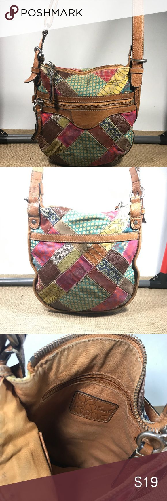 Fossil Leather Patchwork multi Color Shoulder Bag In good condition, colors have faded a little and there is a water stain on the front. Fossil Bags Shoulder Bags