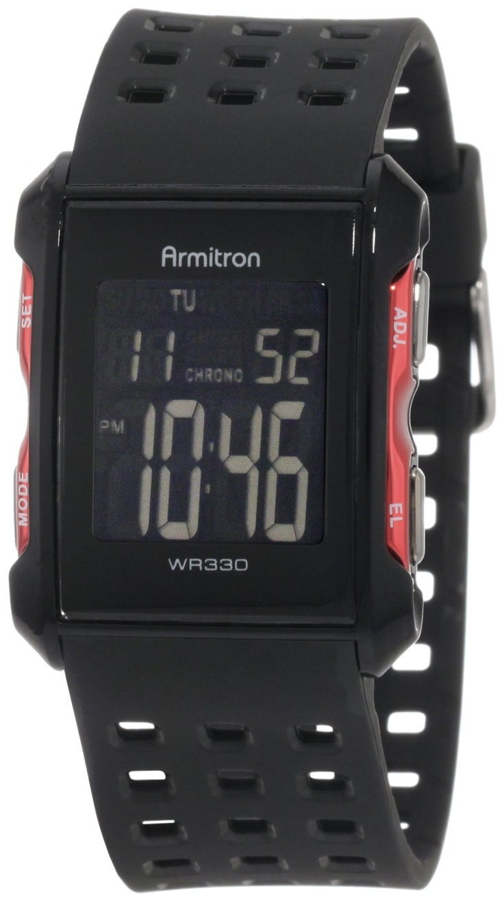 Armitron Men's 408177RED Chronograph Black and Red Digital