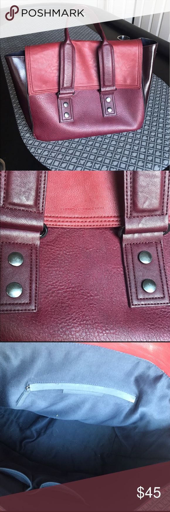[ f r e n c h . c o n n e c t i o n . b a g ] Cute burgundy French connection bag! Great condition! Has a couple little nicks on the front barely noticeable and in the inside corner on the fabric lining there is a little bit of discoloration but that's only if you look really close! Great condition otherwise! French Connection Bags Totes
