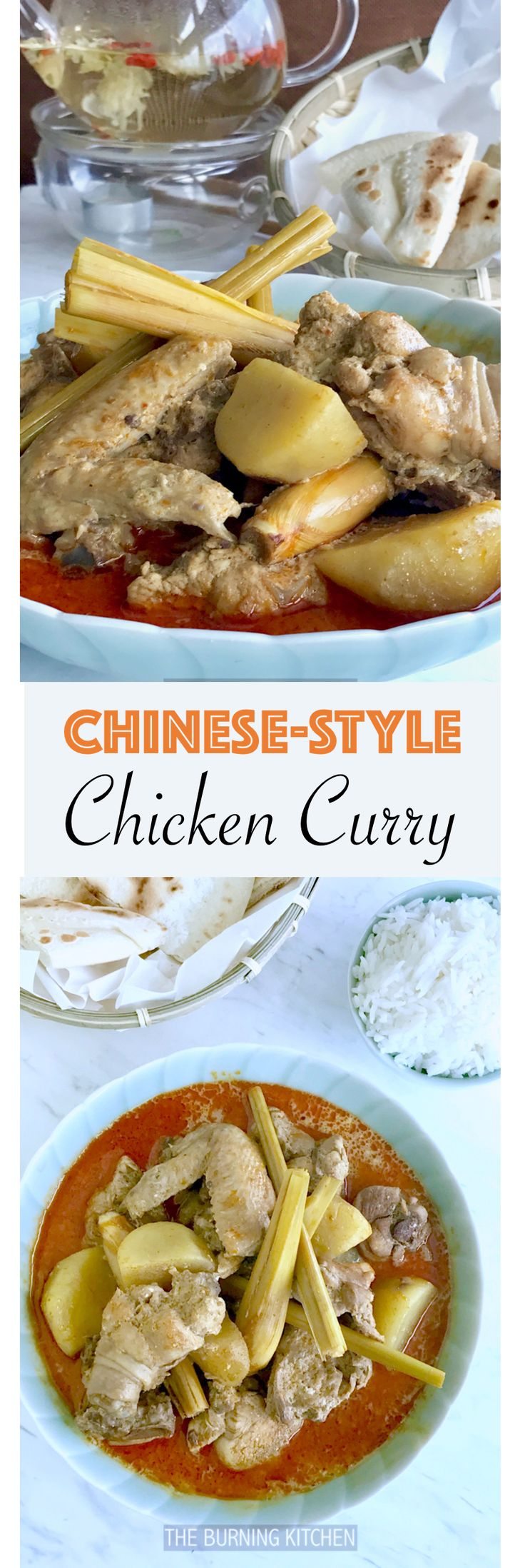 Steaming hot chinese-styled chicken curry goes perfectly with french loaf or white rice!