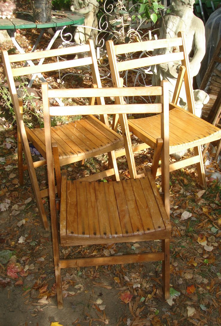 Vintage Wooden Folding Chairs Set 3 Folding Chairs Wood Patio Chairs Folding Garden Chair