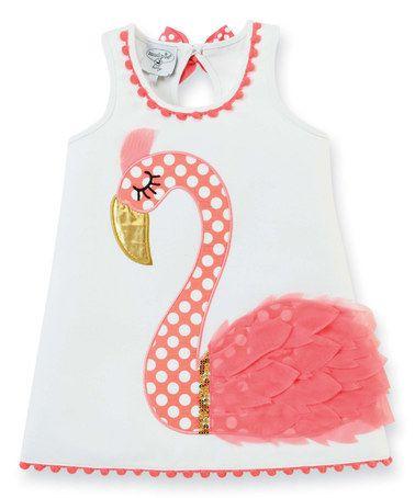 Look what I found on #zulily! White & Pink Flamingo Dress - Infant & Girls #zulilyfinds
