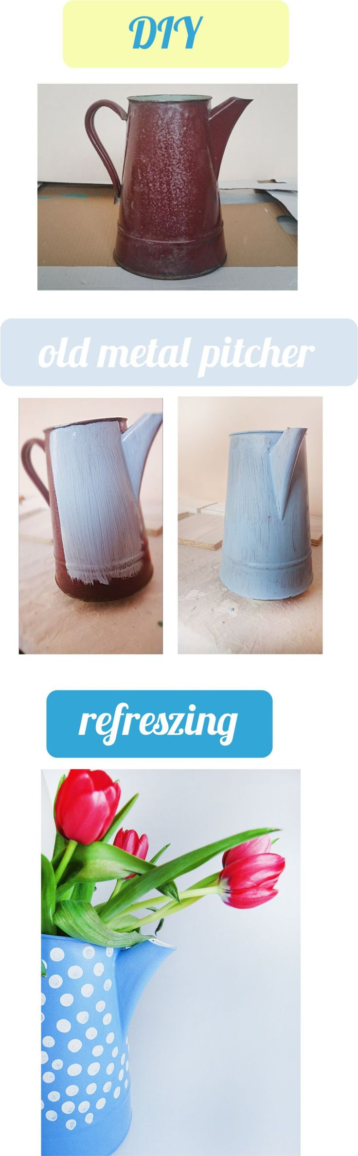 Old, metal, pitcher. DIY. Painted with dots. Now used as a flower vase. DIY, renovation, refreszing.
