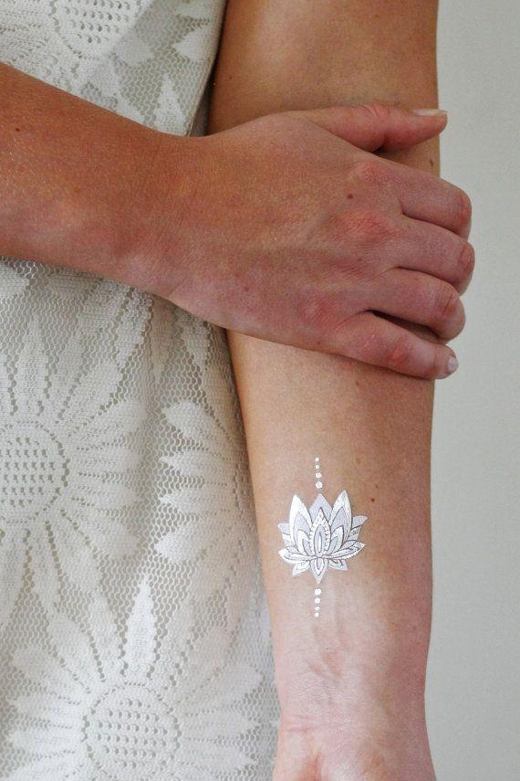 Silver and white lotus temporary tattoo / boho temporary tattoo / lotus tattoo…