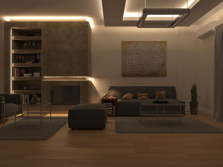 Flat renovation in Faliro, Athens, Greece. #livingroom #renovation #modern #lavaplaster #oakfloor  #woodenfloor #hiddenlights #lightdesign #furnituredesign #interiordesign #digitalphotography #3Dvisualization