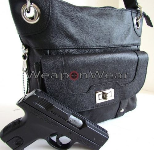 Concealment Purse Black Leather Locking Concealed Carry Ccw Holster Gun #17