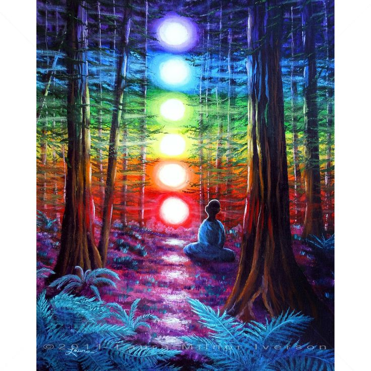 Original Painting Meditation Chakras Redwood Trees Forest ...