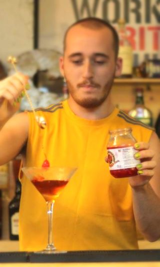 Manhatten Cocktail ~ Glass: Chilled Cocktail / Martini, Method: Stir & Julep Strain, Ice: None, Ingredients: 2 Dashes Angostura Bitters, 1 1/2oz Bourbon, 1/2oz Sweet Vermouth