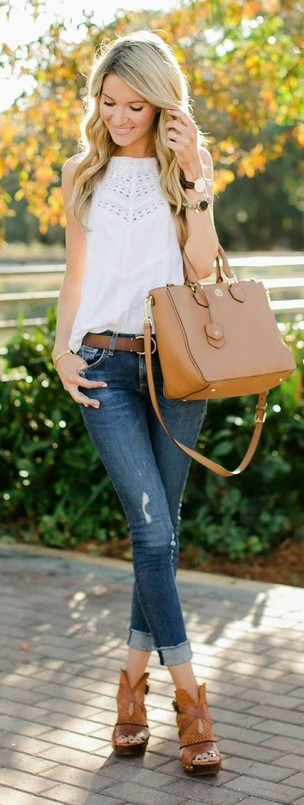 Super Cute Outfit. Fall inspired outfit. White country tank top, tan open toe heel, jeans, tan purse..