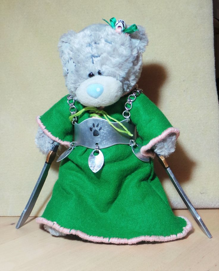 """Say Hi to Grizel Bear ( Scottish form of German Griselda, meaning """"grey battle maid."""" ) She's a sweetheart among the Battle bears off the battlefield and a whirlwind of death on it, she'll slice and dice her way through monsters at ferocious speed !"""