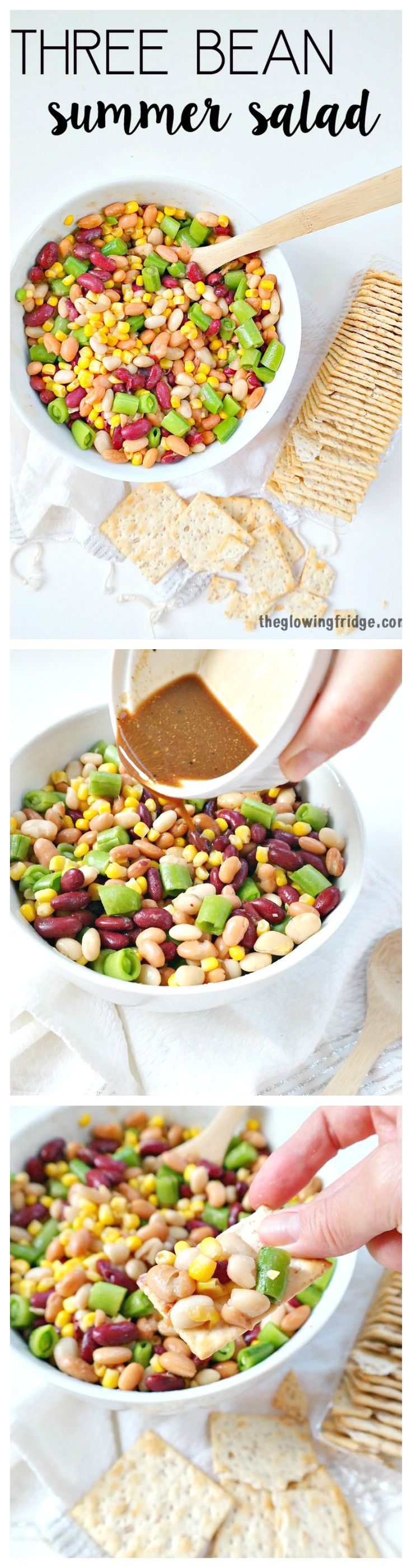 Three Bean Summer Salad. Plant Based and Vegan with an Oil Free Vinaigrette Dressing. The perfect chilled summer salad that gets better after a few hours in the fridge. Crunchy, totally satisfying, filling and healthy!