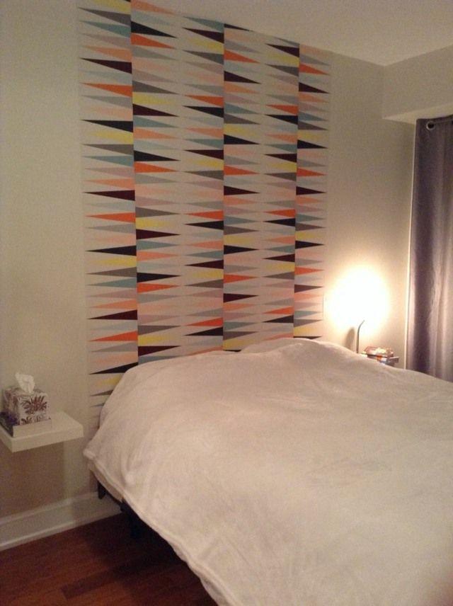 papier peint tête de lit idée chambre intérieur moderne