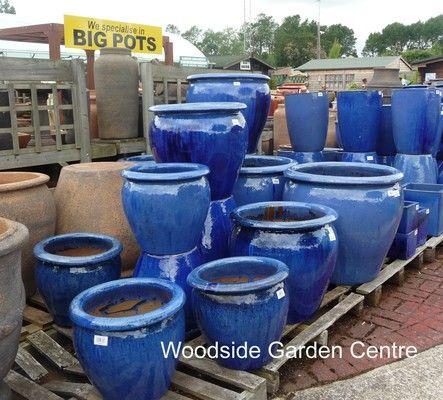 Large Glazed Blue Pots