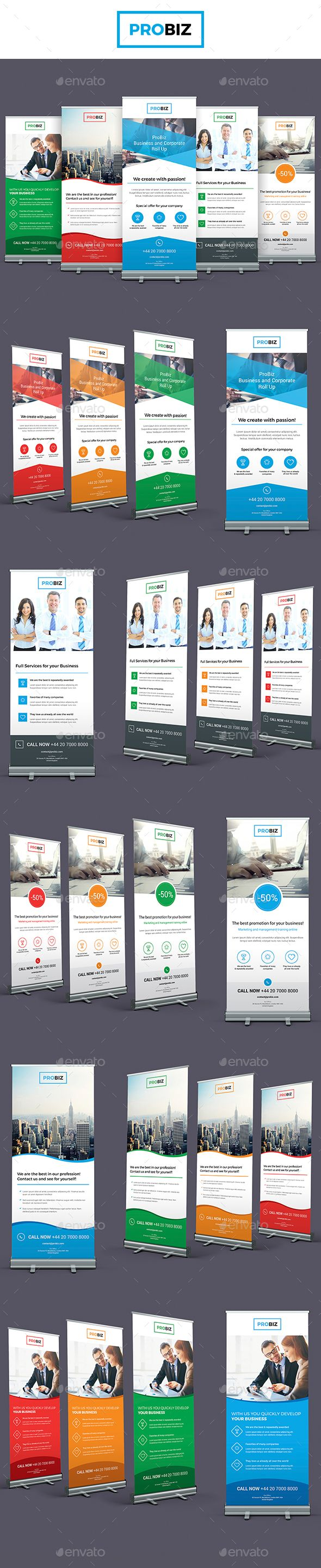 ProBiz – Business and Corporate Roll Up Banners Templates PSD, InDesign INDD