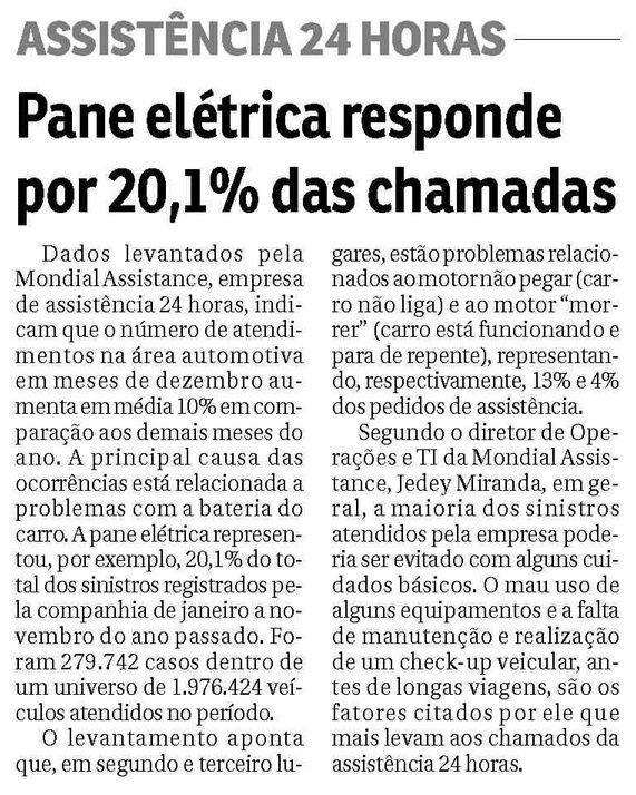 Título: Pane elétrica responde por 20,1% das chamadas. Veículo: Jornal do Commercio RJ. Data: 16/01/2015. Cliente: Mondial.