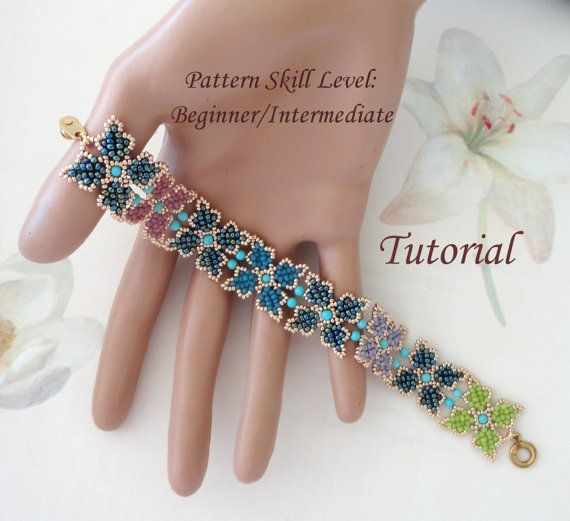 PARVA PAPILIO beaded bracelet beading tutorials and patterns