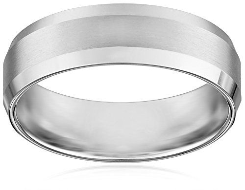 mens 10k white gold comfort fit wedding band with satin center and beveled edges