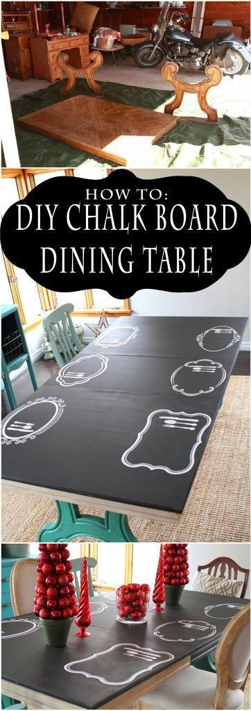 DIY Chalkboard Dining Table