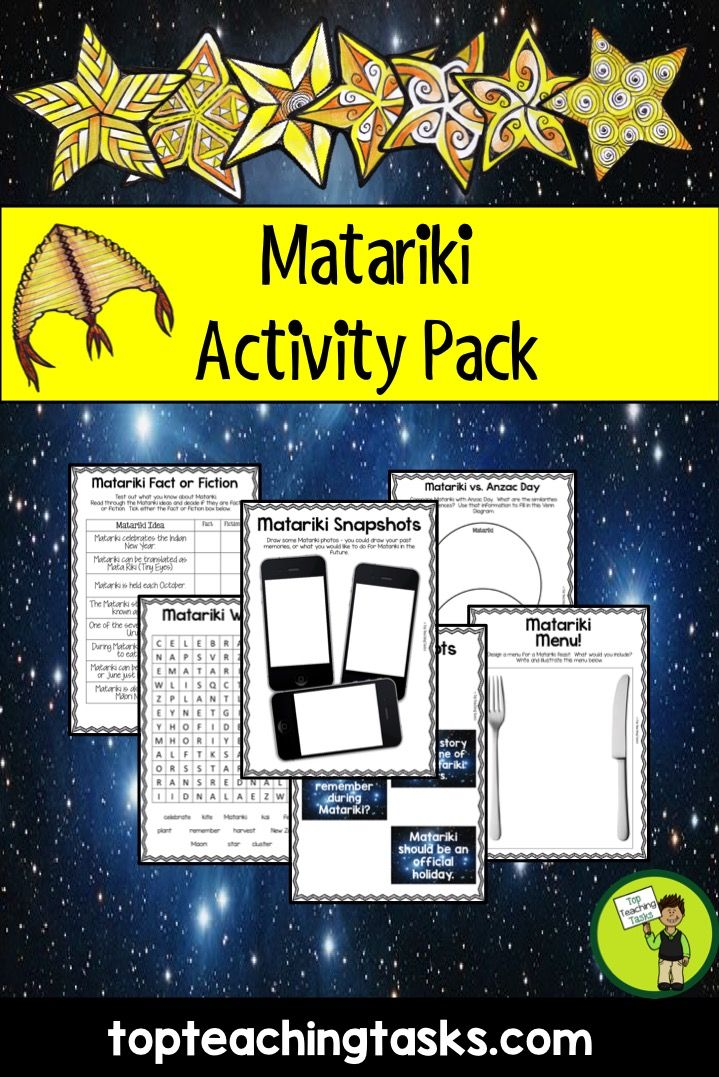 Let us save you time this Matariki with our Matariki Activity Pack to celebrate the Māori New Year. This NZ (New Zealand) Activity Pack features 15 Print and Go Matariki Themed Resources. Just choose which resources you would like to use and print them out! Perfect to use in the classroom, as an early finisher activity or for homework.
