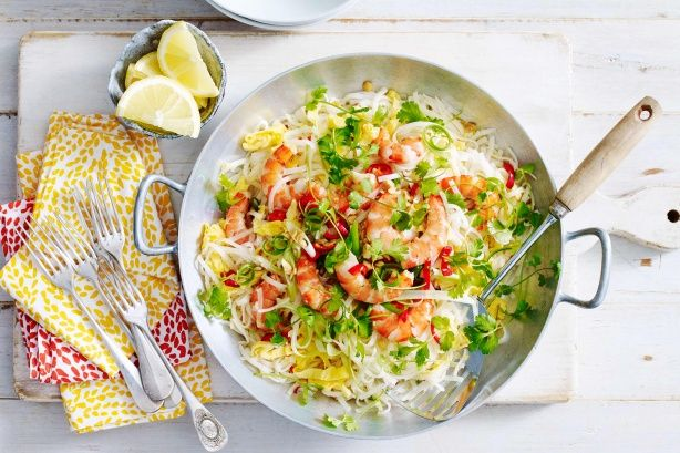 For a quick and easy weeknight meal try this fragrant prawn pad Thai.