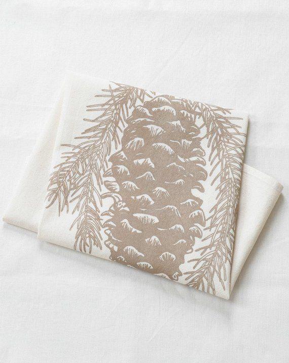 Tea Towels - Set of 3 - Organic Cotton - Pine Cone Design