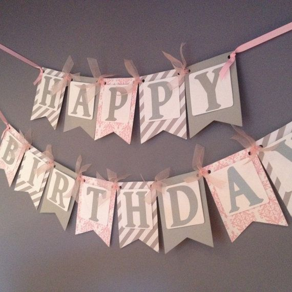 silver and pink birthday banner birthday decoration by wittypaper birthday decorations adultbirthday banner ideasfirst - Party Decorating Ideas For Adults