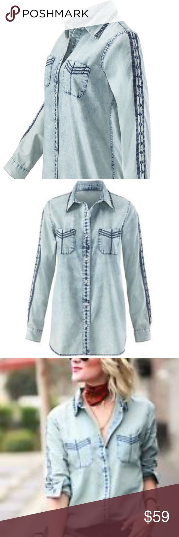 Bardot Shirt #5058 Denim Lightweight feminine feel Shirt. Looks great tied up at the front with a pretty skirt or your favorite jeans. CAbi Tops Button Down Shirts
