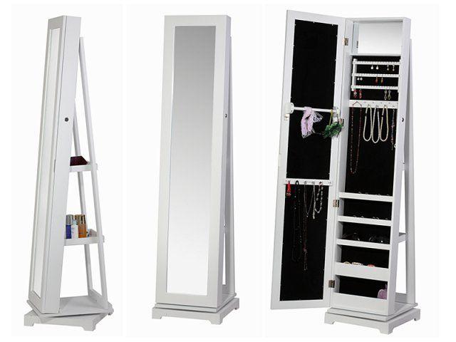 Mueble joyero espejo con estanteria blanco medidas for Precios de espejos de pie