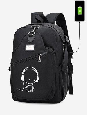 USB Charging Port Luminous Cartoon Print Backpack - Black