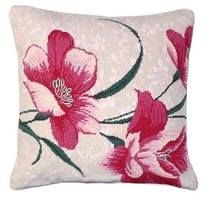 NCU-352 Elli. Beautiful handmade needlepoint pillow made from 100% wool with a cotton velvet zippered back. Exquisitely vibrant hot pink flowers sit larger than life on a beige background. The detail in these flowers almost make it seem like they are going to pop right off the pillow. Companion to NCU353 Liesl.