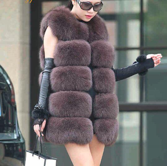 Купить товарЕвропейский модный дизайн лисий мех женщин безрукавка средней…