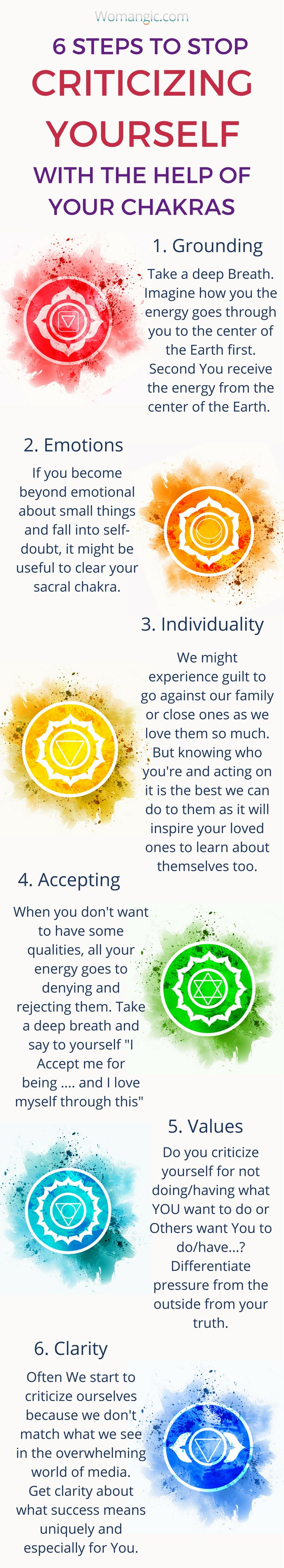 How to stop criticizing yourself. How to love yourself more. How to practice self-love. Self-criticism, positive mindset. Positive Self-image. Chakra, Chakra Balancing, Root, Sacral, Solar Plexus, Heart, Throat, Third Eye, Crown, Chakra meaning, Chakra affirmation, Chakra Mantra, Chakra Energy, Energy, Chakra articles, Chakra Healing, Chakra Cleanse, Chakra Illustration, Chakra Base, Chakra Images, Chakra Signification, Anxiety, Anxiety Relief, Anxiety Help, Anxiety Social, Anxiety…