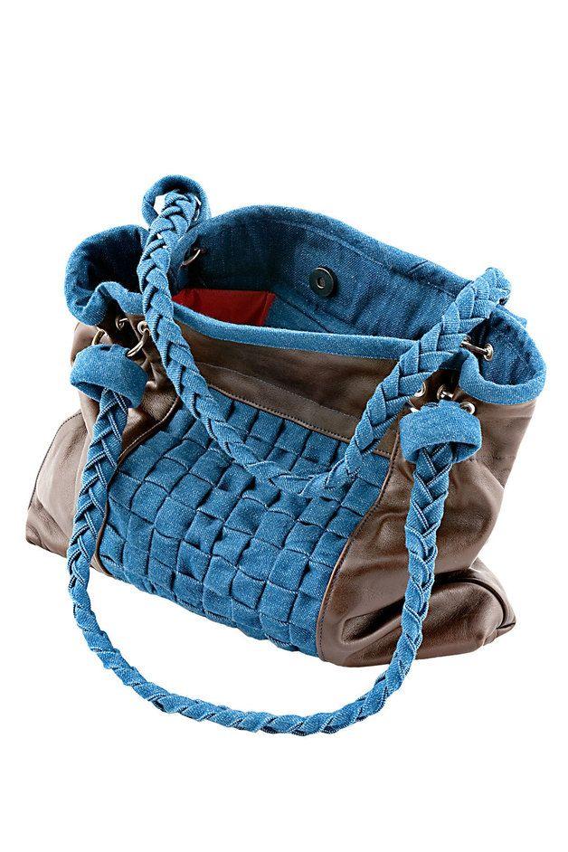 Handtasche - Shopper aus Leder und Jeans, Einzelstück - ein Designerstück von LISICHKA bei DaWanda