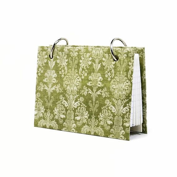 Index card binder celery green damask daily memory by ArtBySunfire, 3 x 5 $9.00 or 4 x 6 $12.00