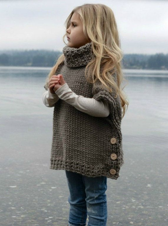 Girls Boho Chunky Style Pullover Tunic Sweater Poncho