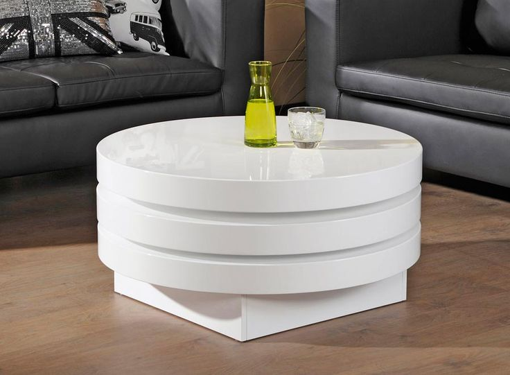 CAVA-sohvapöytä pyöreä, korkeakiiltovalkoiseksi maalattua kenno-/MDF-levyä, pöytä aukeaa viuhkamaisestikahdessa...