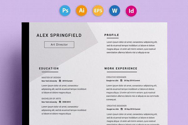 "Resume / CV - ""Springfield"" by 3Angle on @creativemarket"