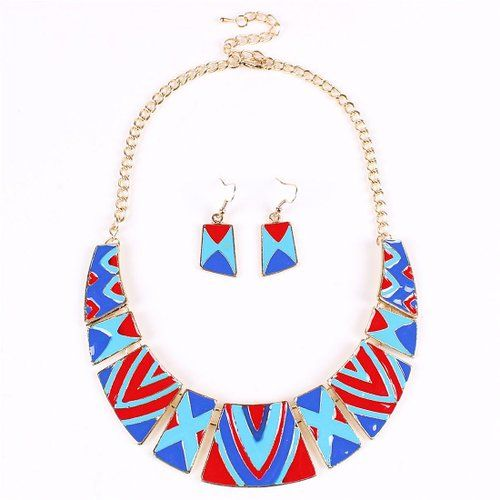 Lucky Totem Tribal Red Blue Geometric Bib Statement Necklace Earrings Set: Jewelry: