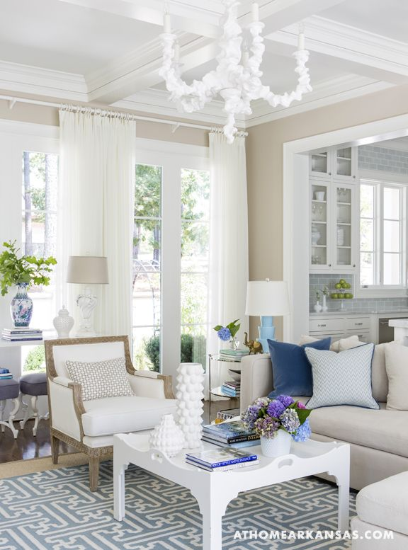 neutral wall, blue accents